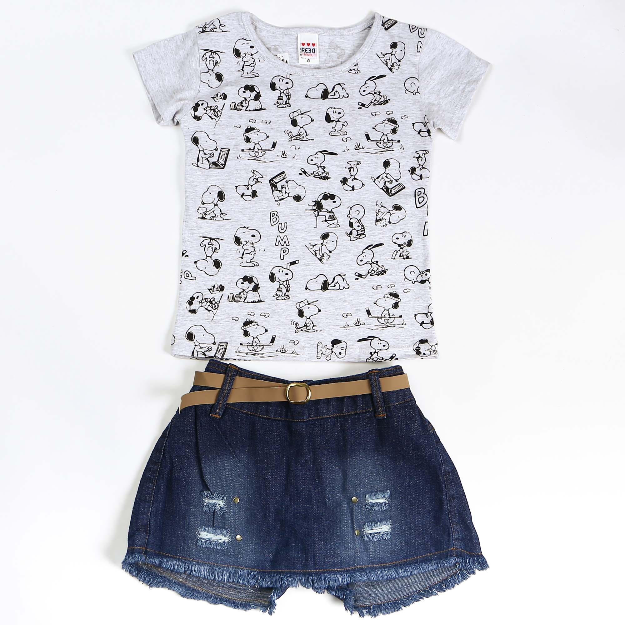 Conjunto Infantil Jeans Estampa Snoopy