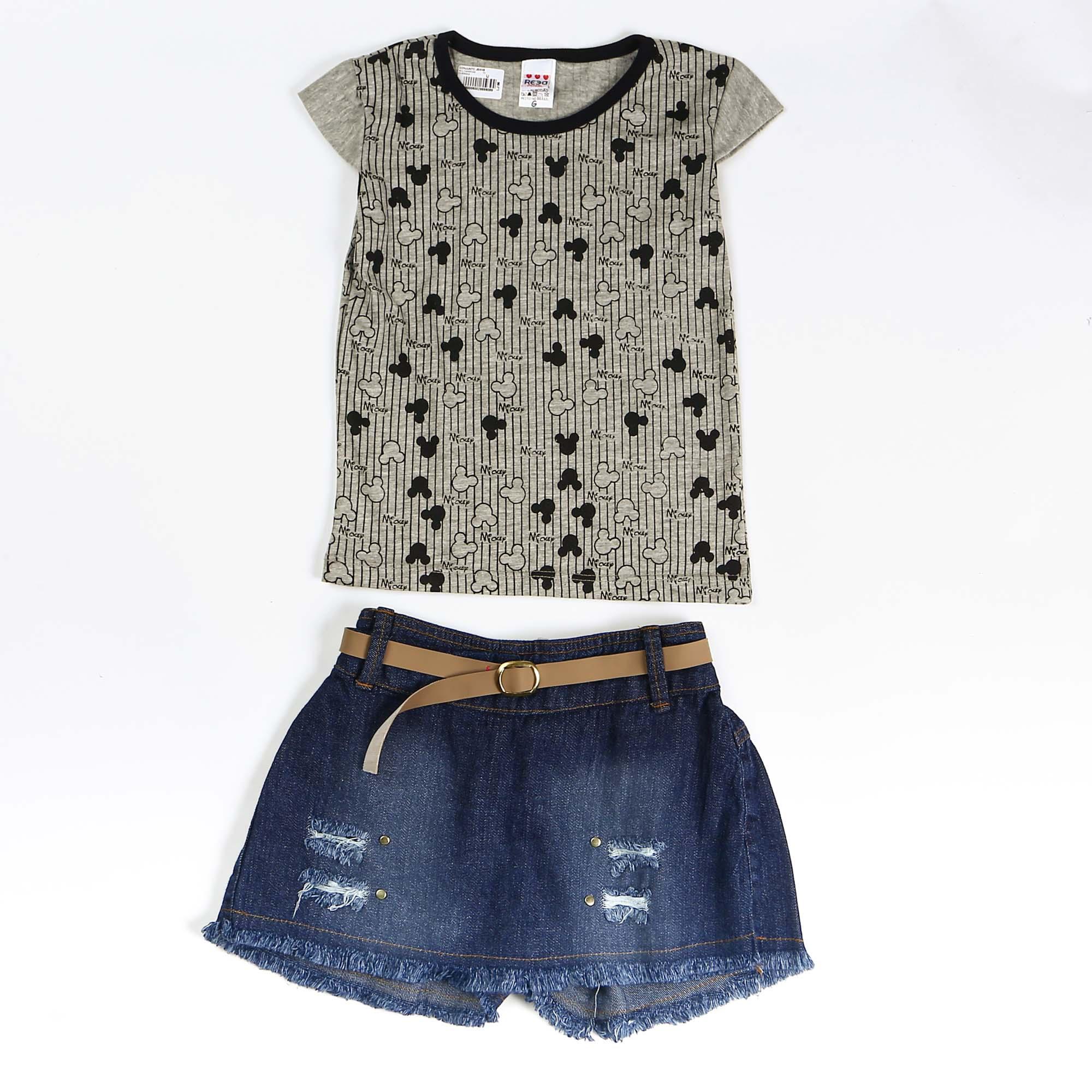 Conjunto Infantil Jeans Estampa Mickey