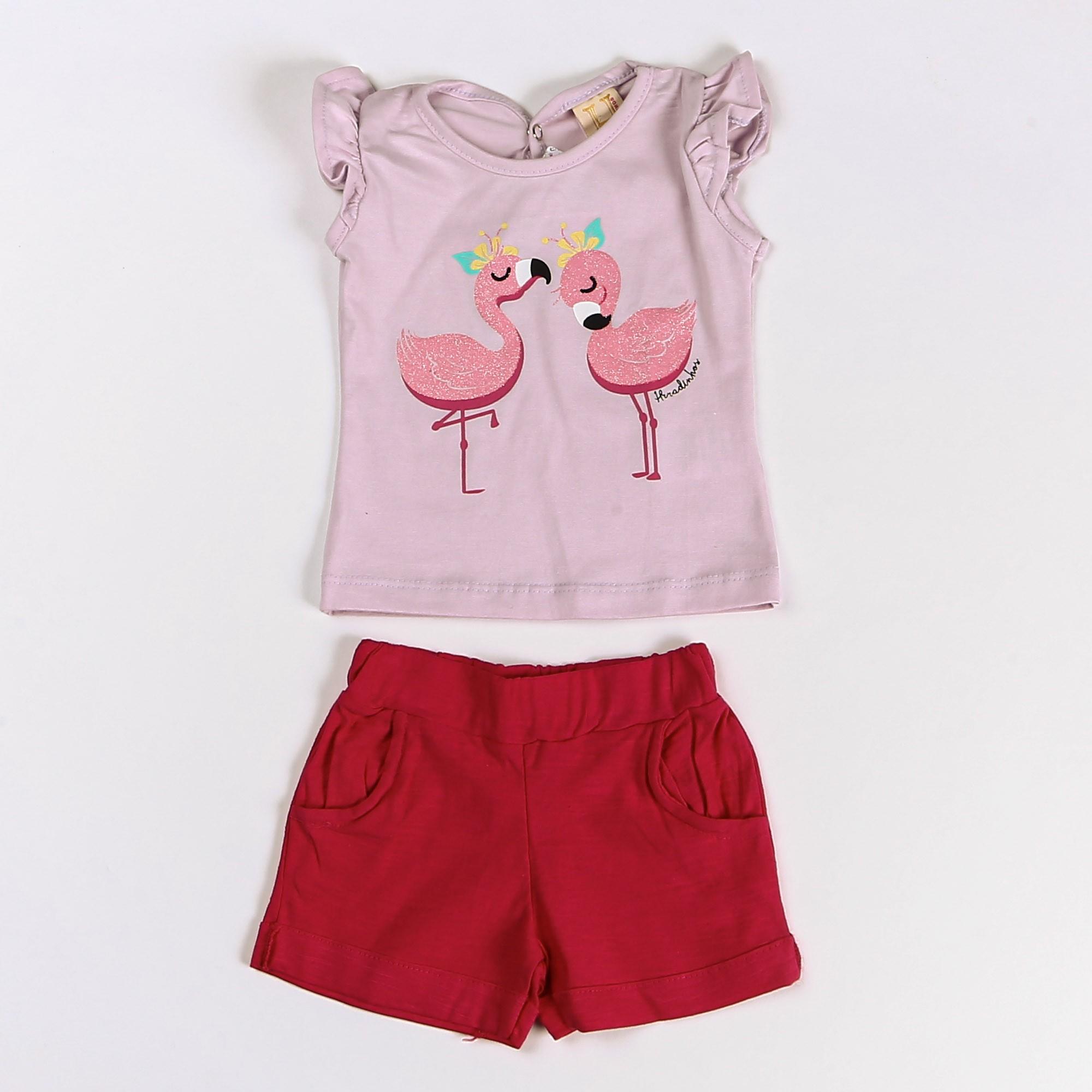Conjunto Infantil Menina Com Blusinha Desenho Flamingo - Hrradinhos