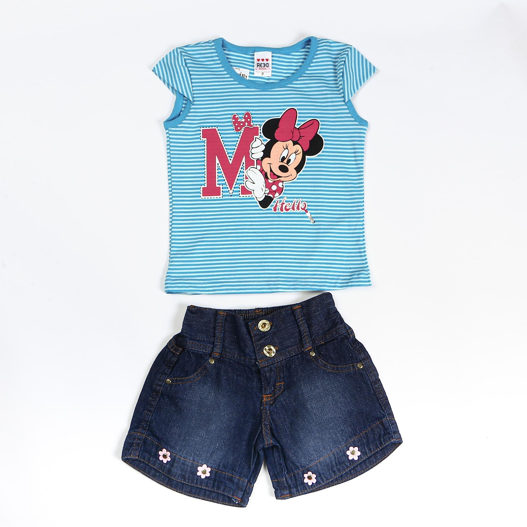 Conjunto Infantil Menina Com Short Jeans e Blusinha Minnie