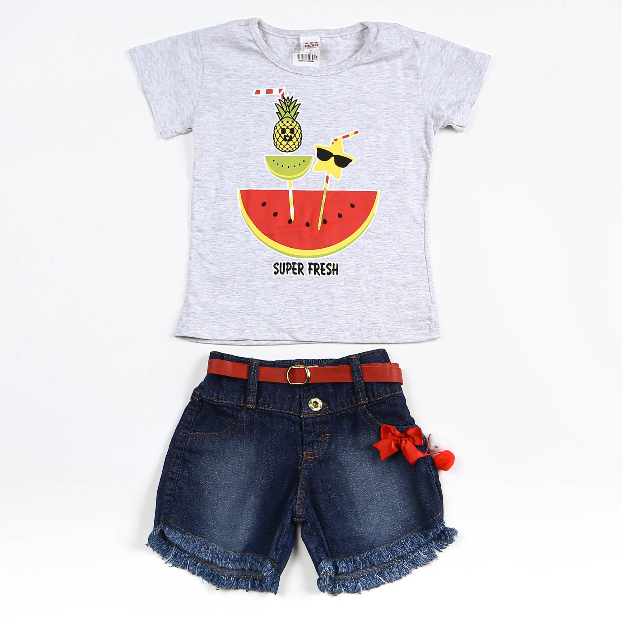 Conjunto Infantil Menina Com Short Jeans e Blusinha Estampa Frutas