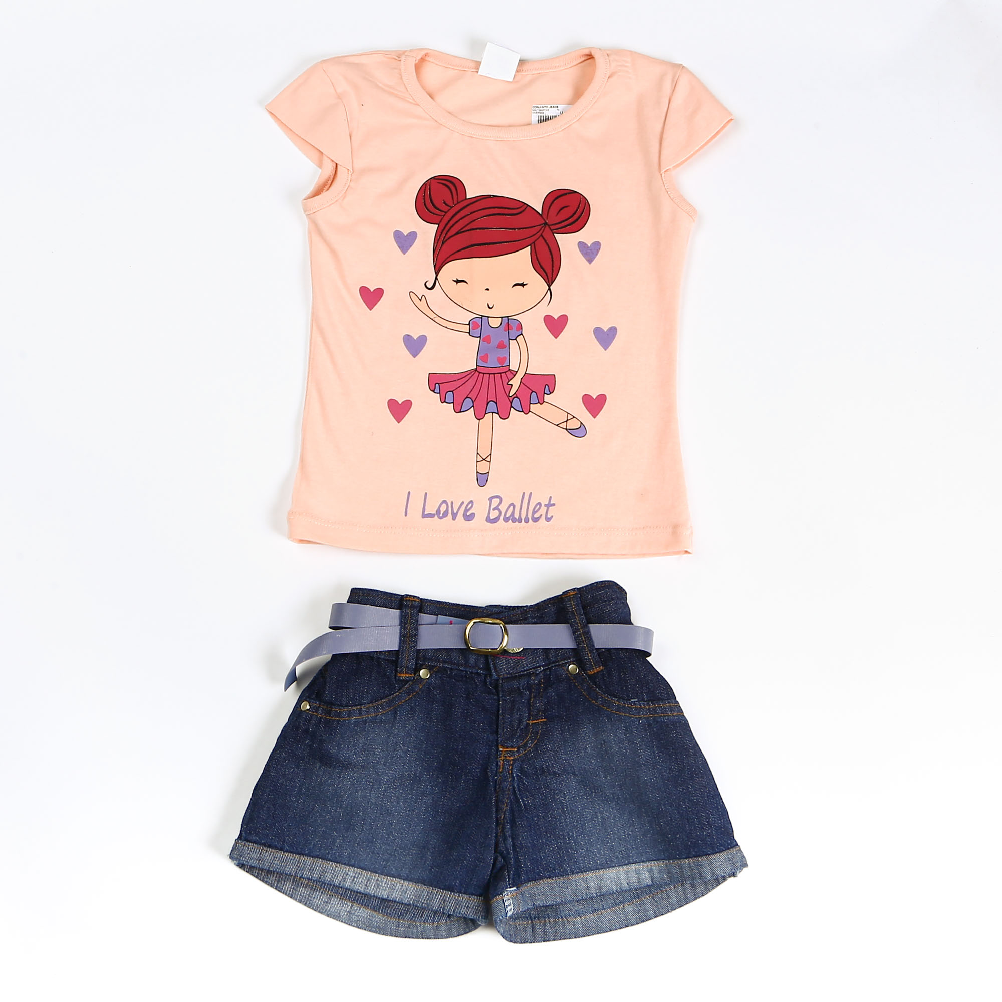 Conjunto Infantil Menina Com Short Jeans Estampada