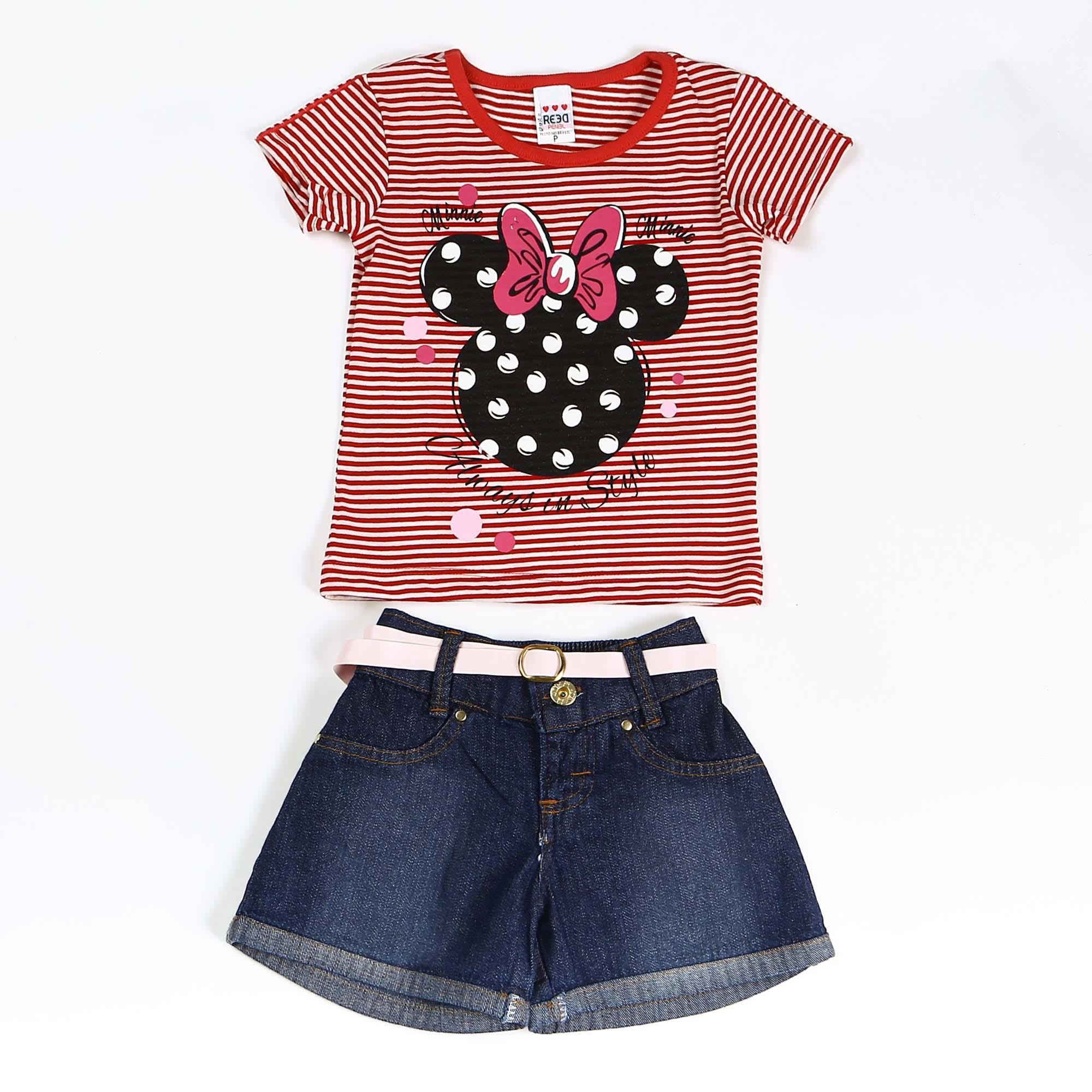 Conjunto Infantil Menina Minnie Detalhe Poa Com Short Jeans
