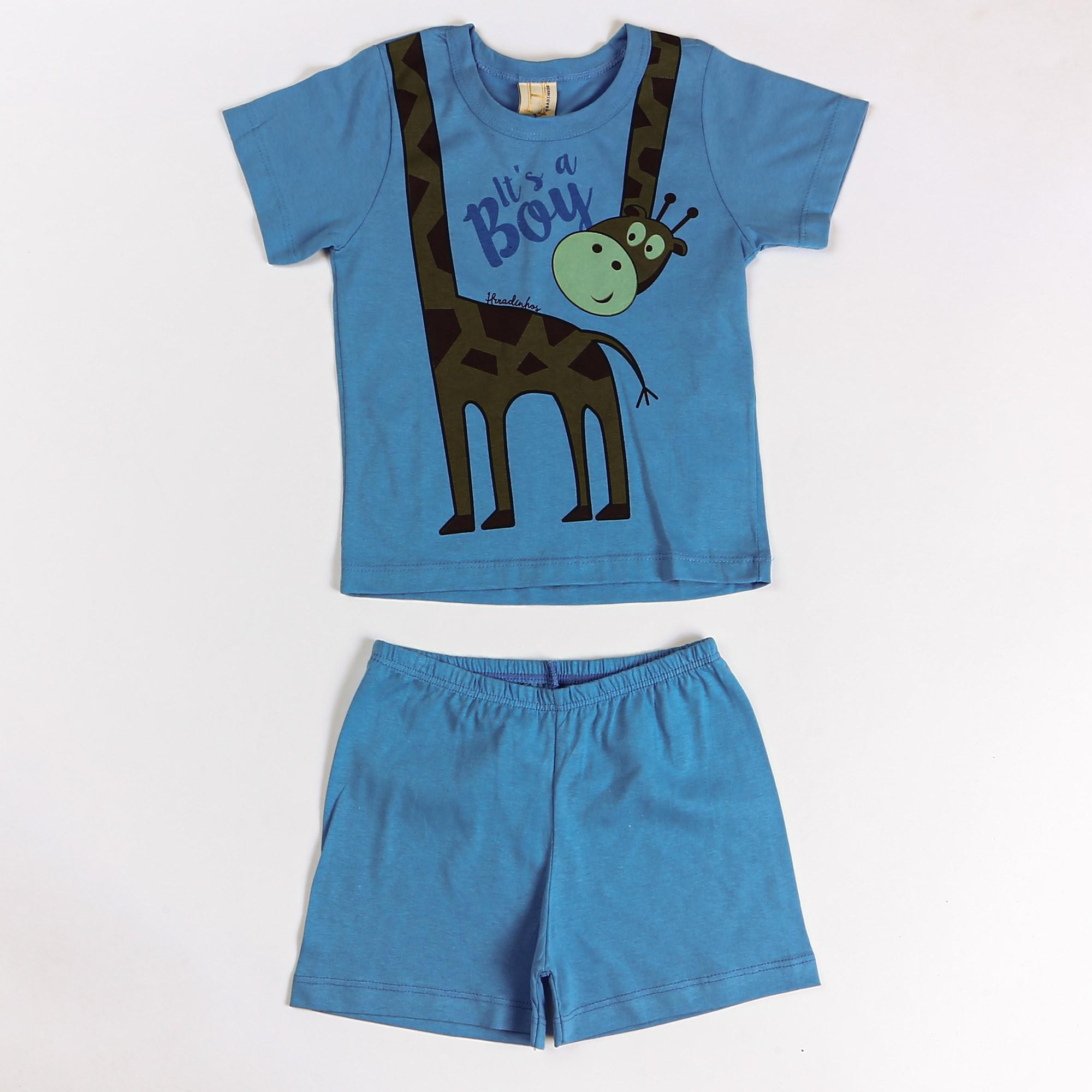 Conjunto Infantil Menino Com Camiseta Desenho Girafa - Hrradinhos