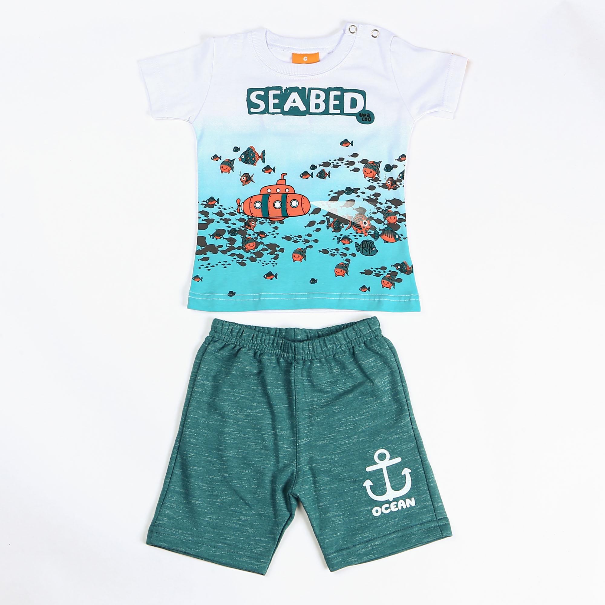 Conjunto Infantil Menino Estampa Fundo Do Mar - Upa Lôo