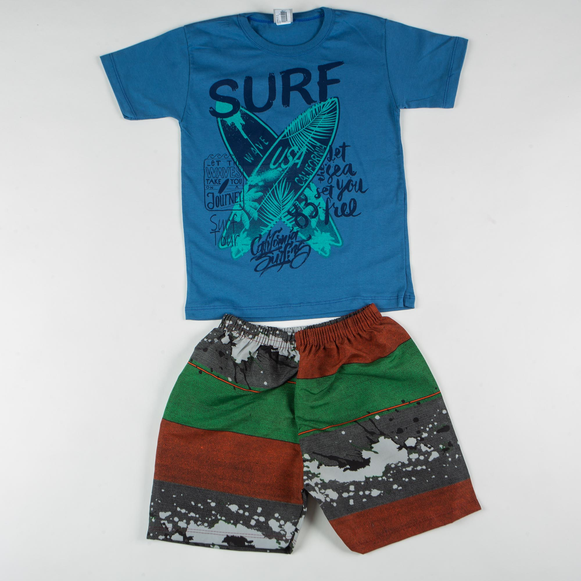 Conjunto Infantil Menino Surf Com Short Tactel