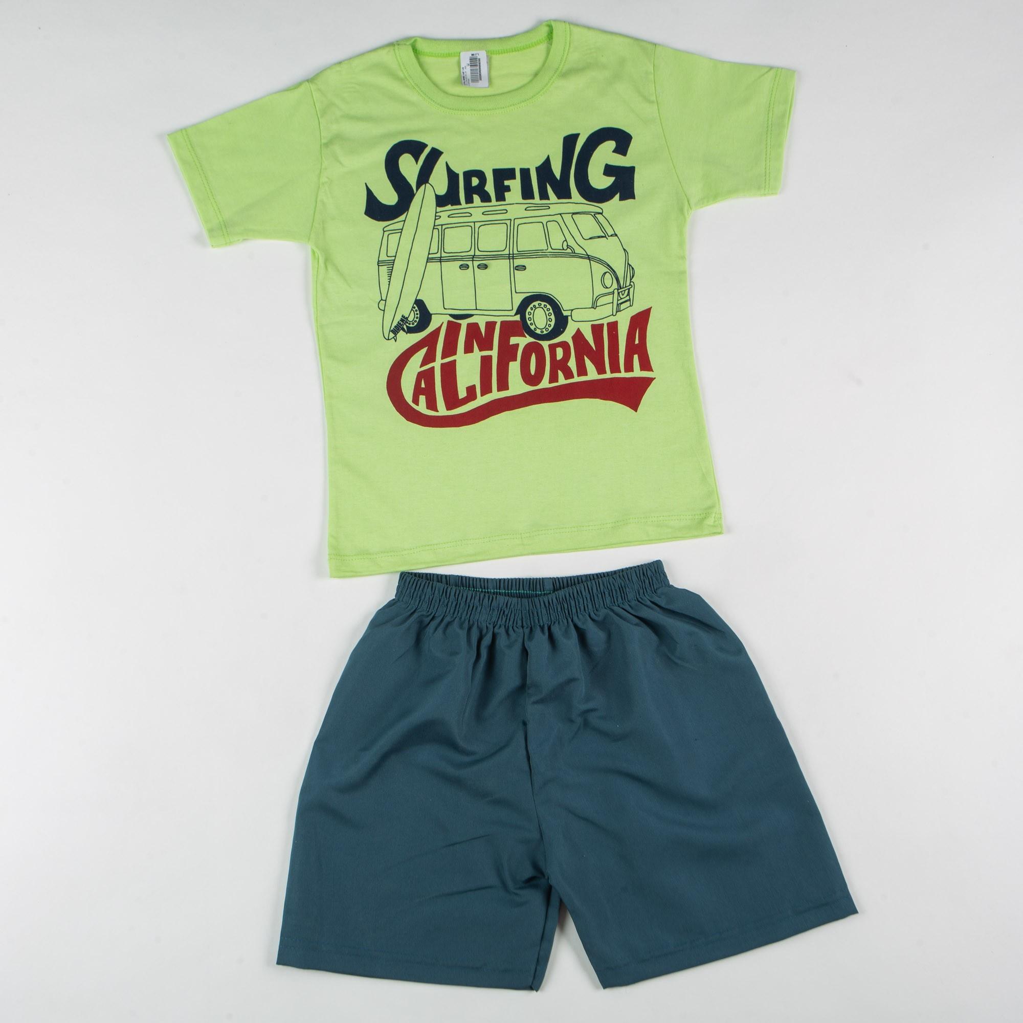 Conjunto Infantil Menino Surfing California Com Short Tactel