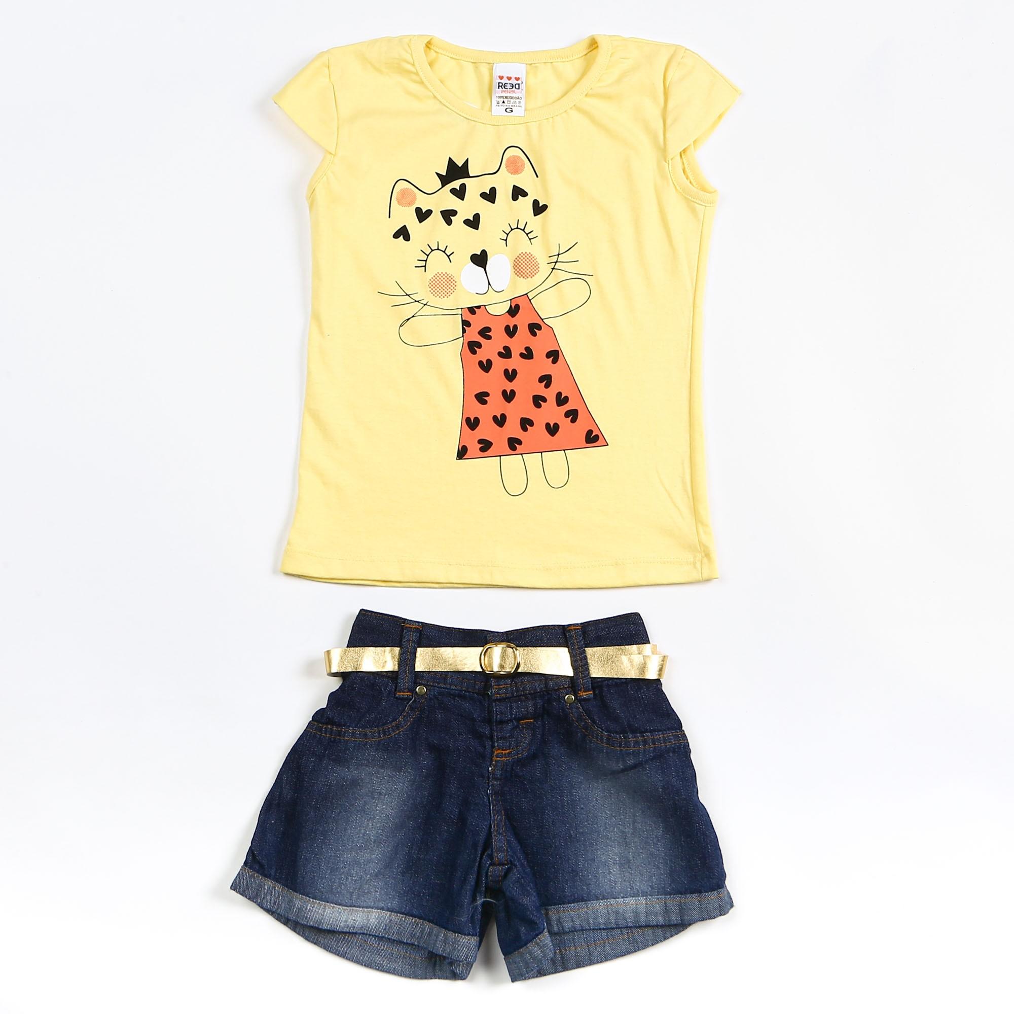 Conjunto Infantil Short Jeans Estampa Gatinho