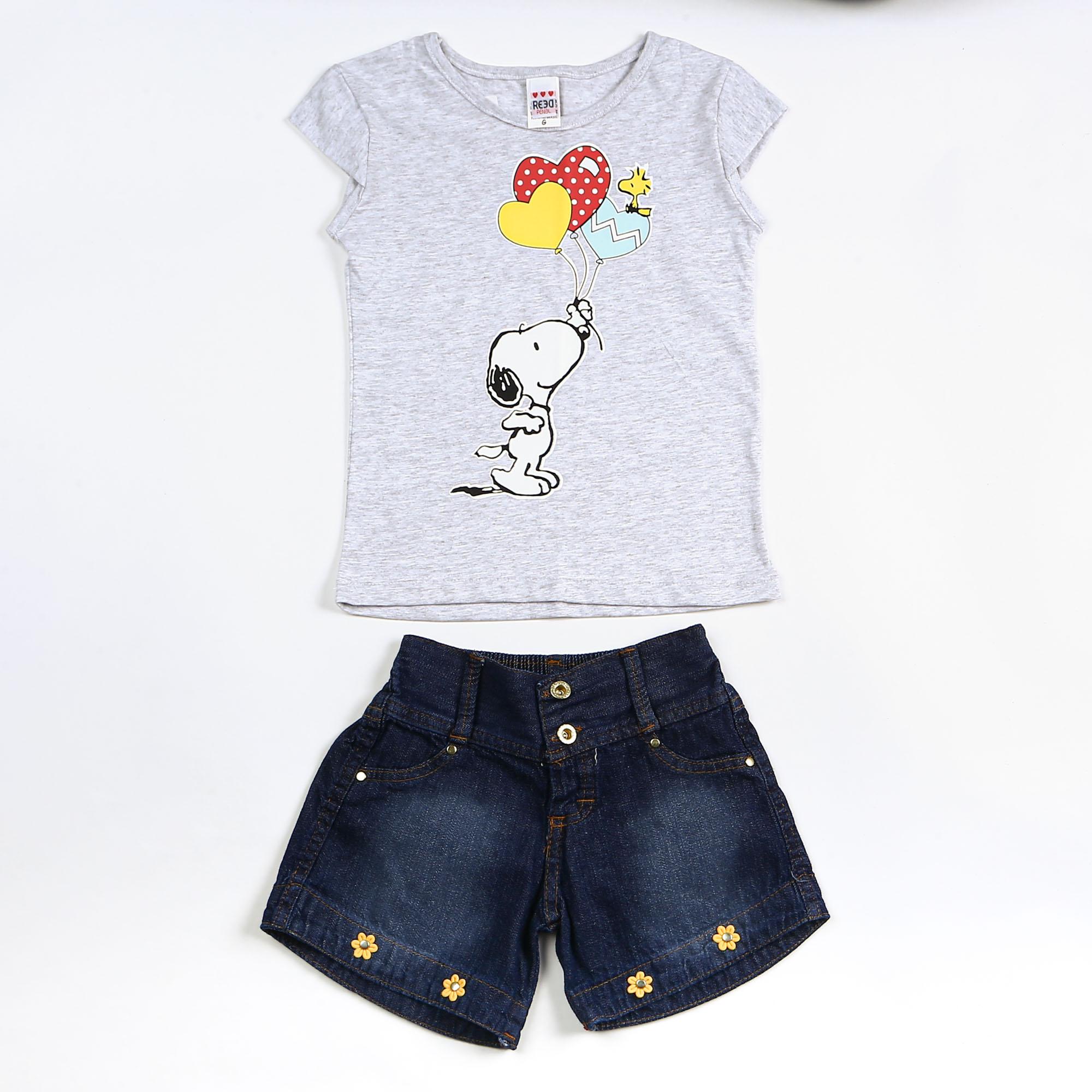 Conjunto Infantil Verão Com Short Jeans Desenho Snoopy