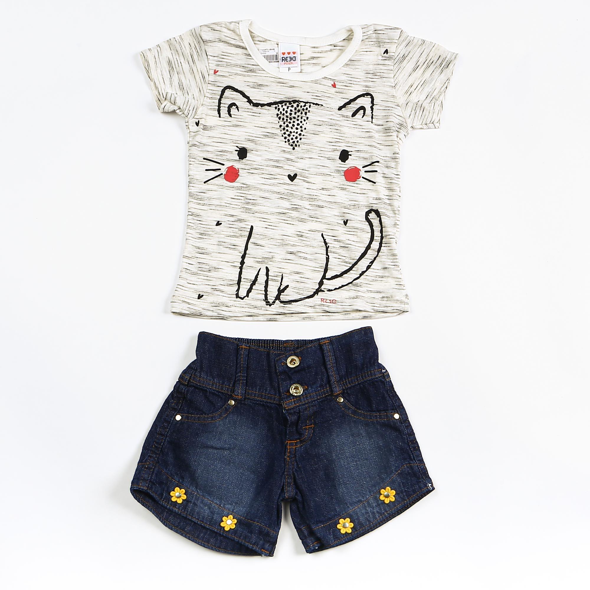 Conjunto Infantil Verão Com Short Jeans e Blusa Mescla