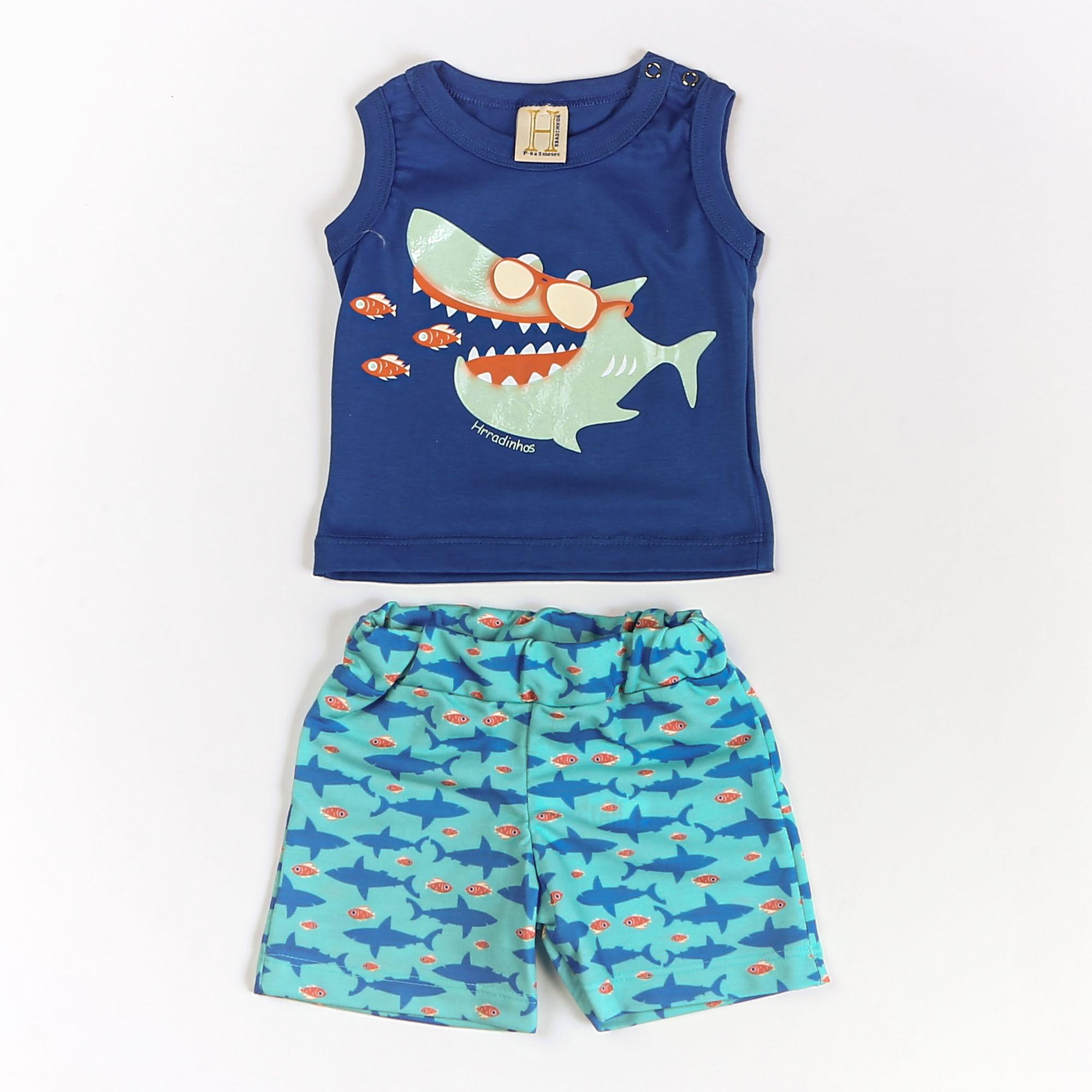 Conjunto Para Menino Bebê Tubarão