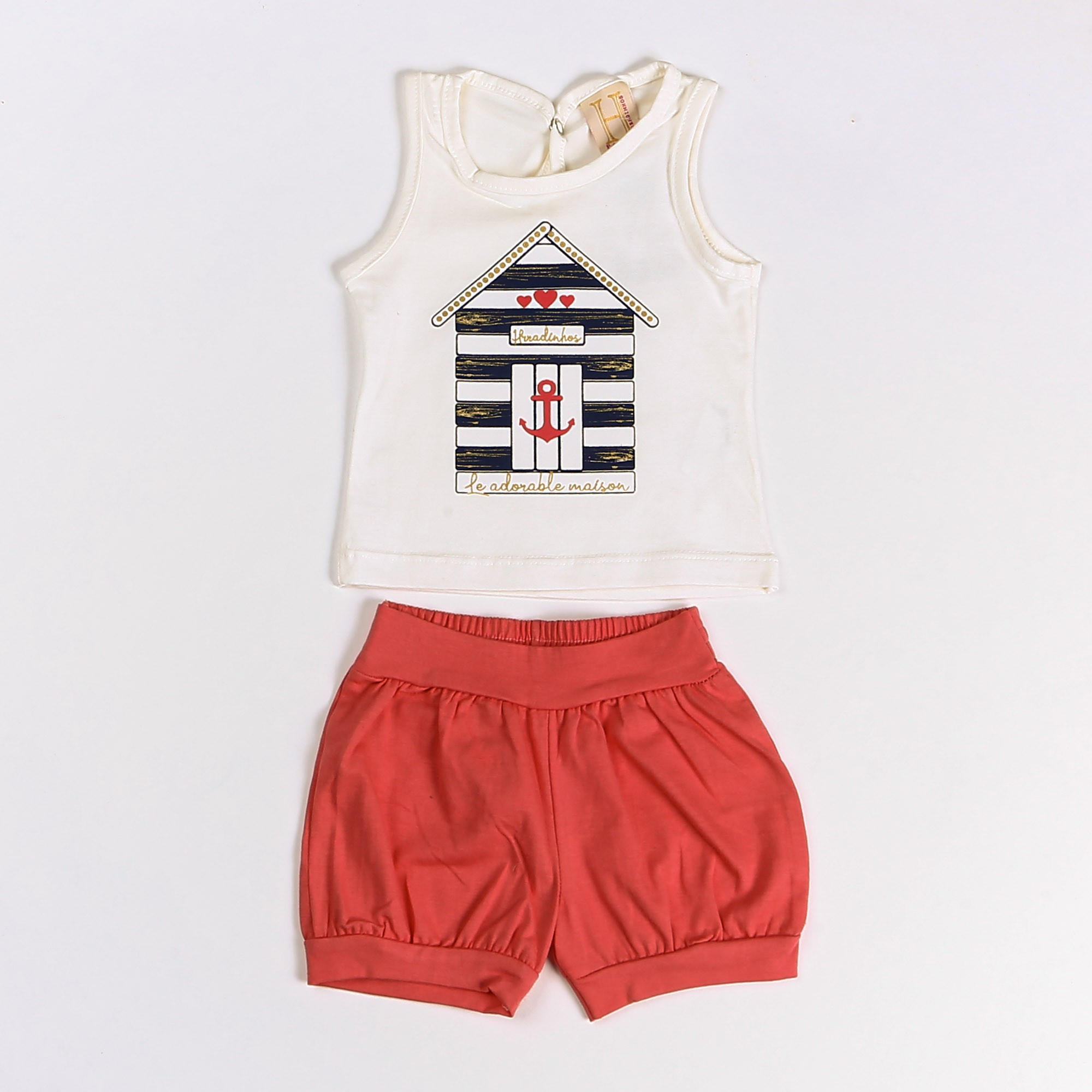 Conjunto Regata Para Bebê Cotton Desenho Casinha