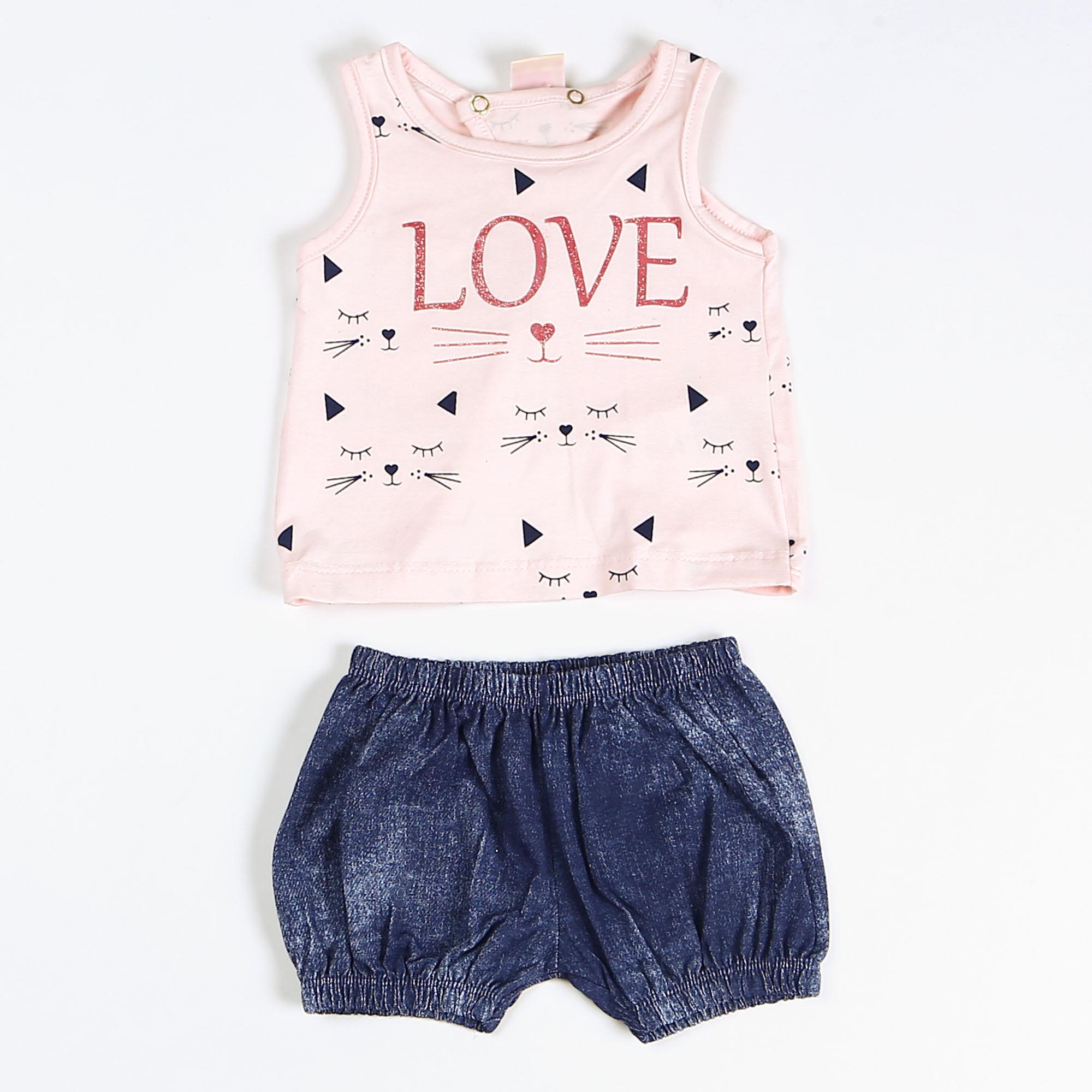 Conjunto Regata Para Bebê Gatinho Love