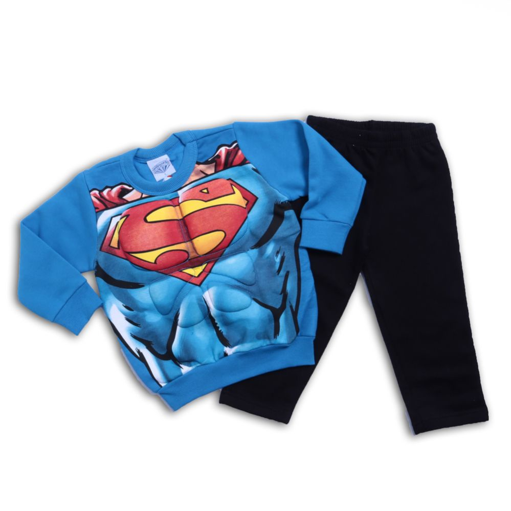 Conjunto Super Homem Infantil Com Peitoral- Brandili