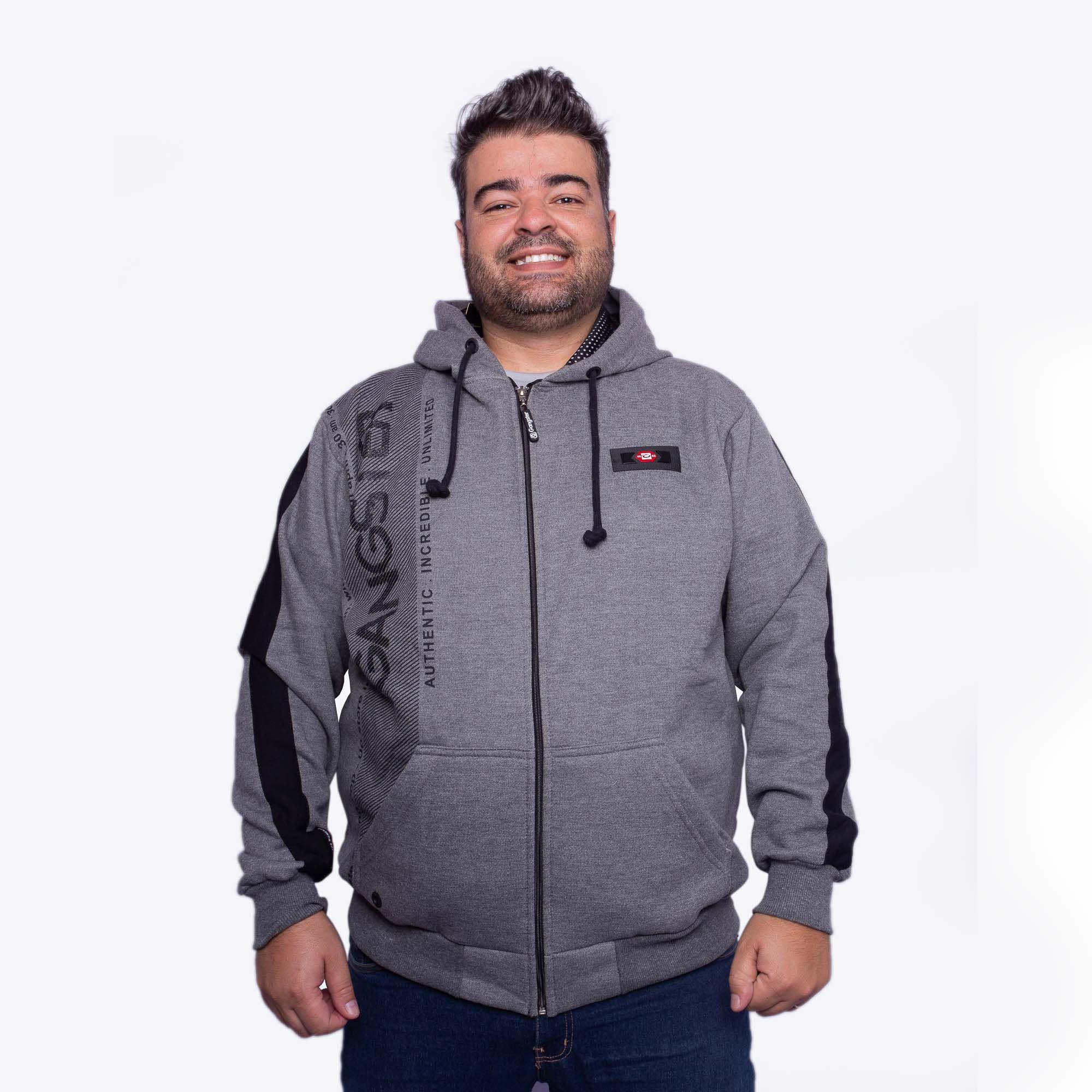 Jaqueta De Moletom Masculina Plus Size Cinza Com Capuz e Bolso - Gangster