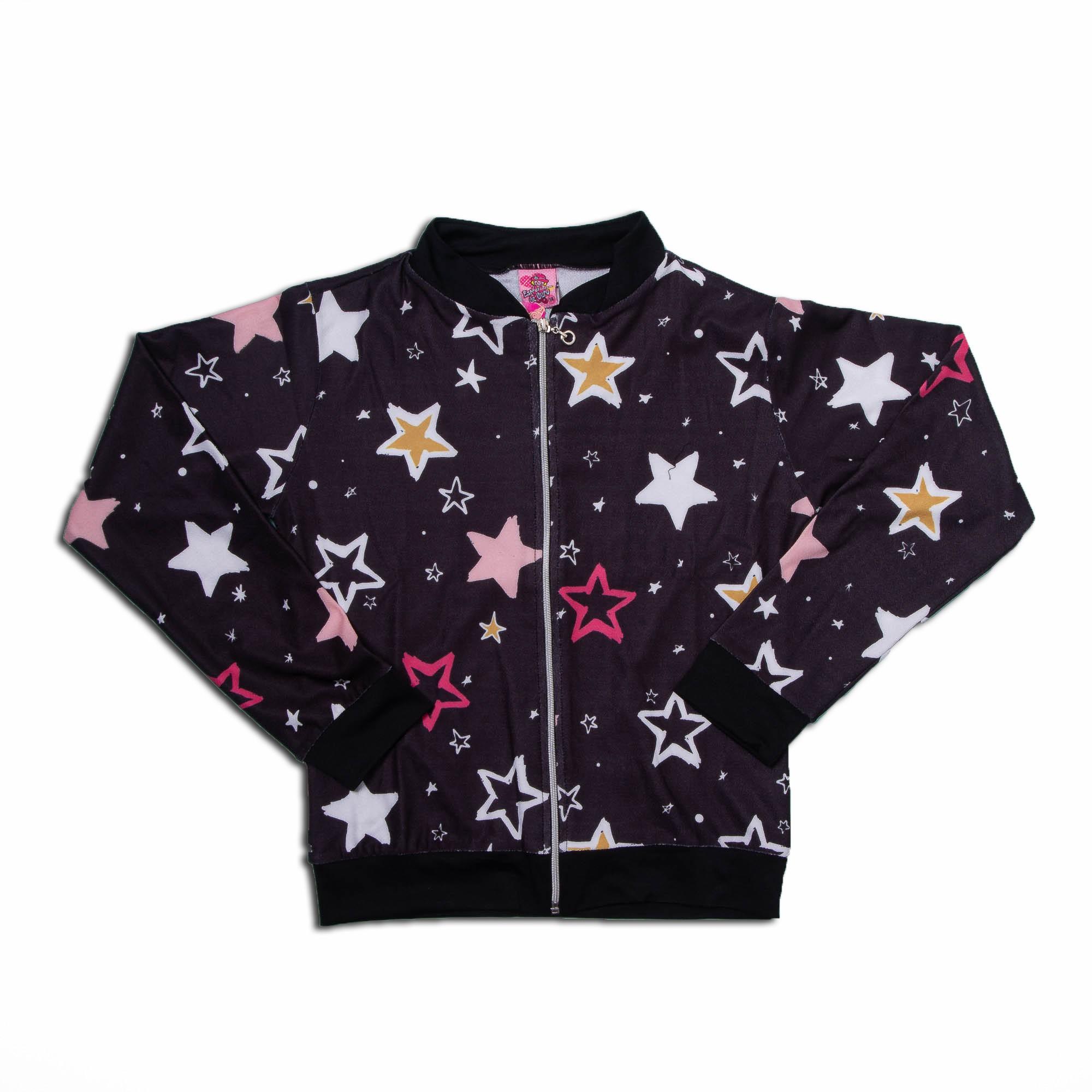 Jaqueta Estampada Estrela Juvenil Menina Estrelinha De Ouro