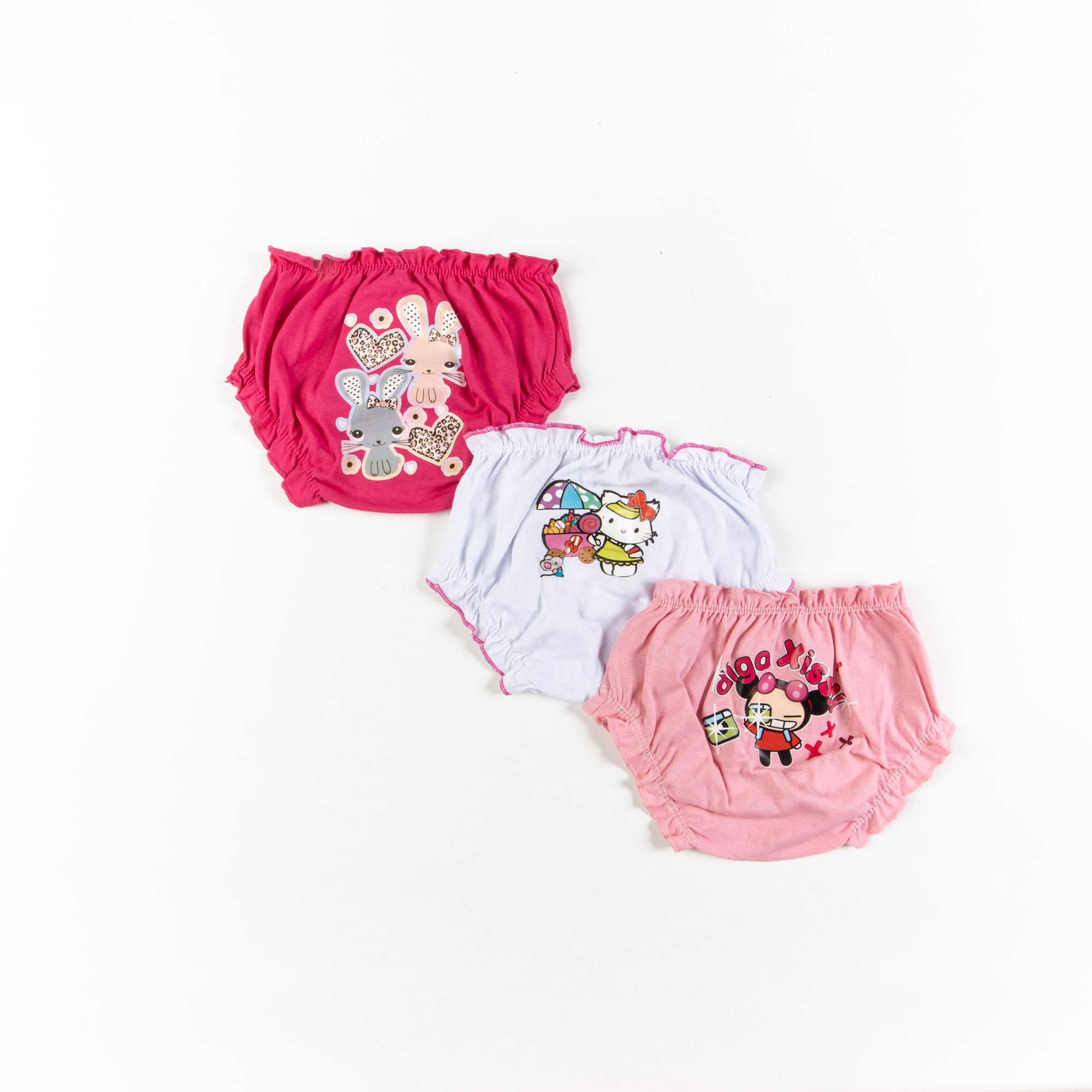 Kit 3 Calcinhas Tapa Fralda Com Desenhos Infantil
