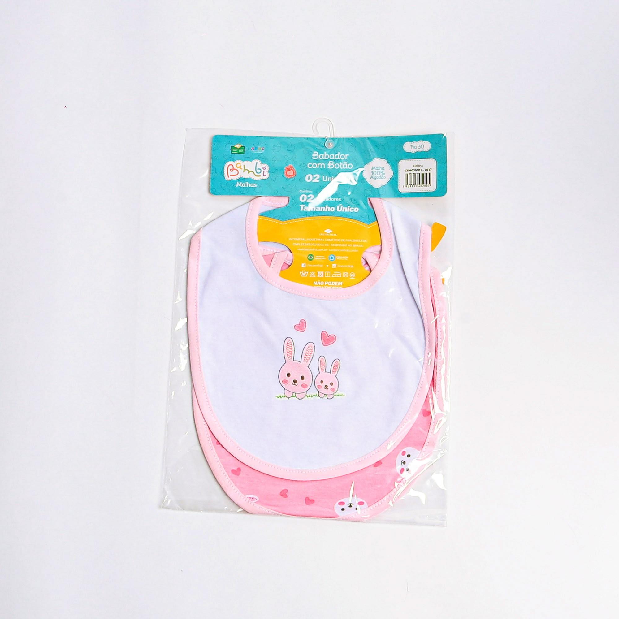 kit Com 2 Babadores Com Botão Malha Para Bebê Estampado - Incomfral