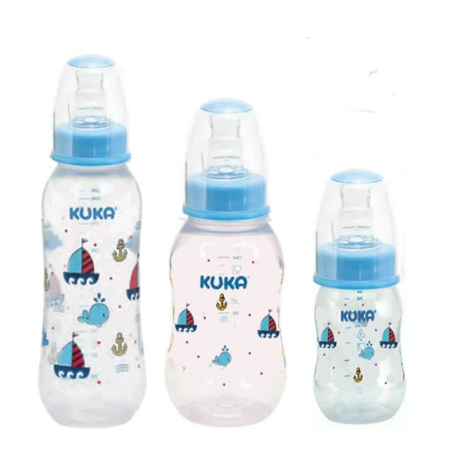 Kit Com 3 Mamadeiras Azul Estampada  Kuka