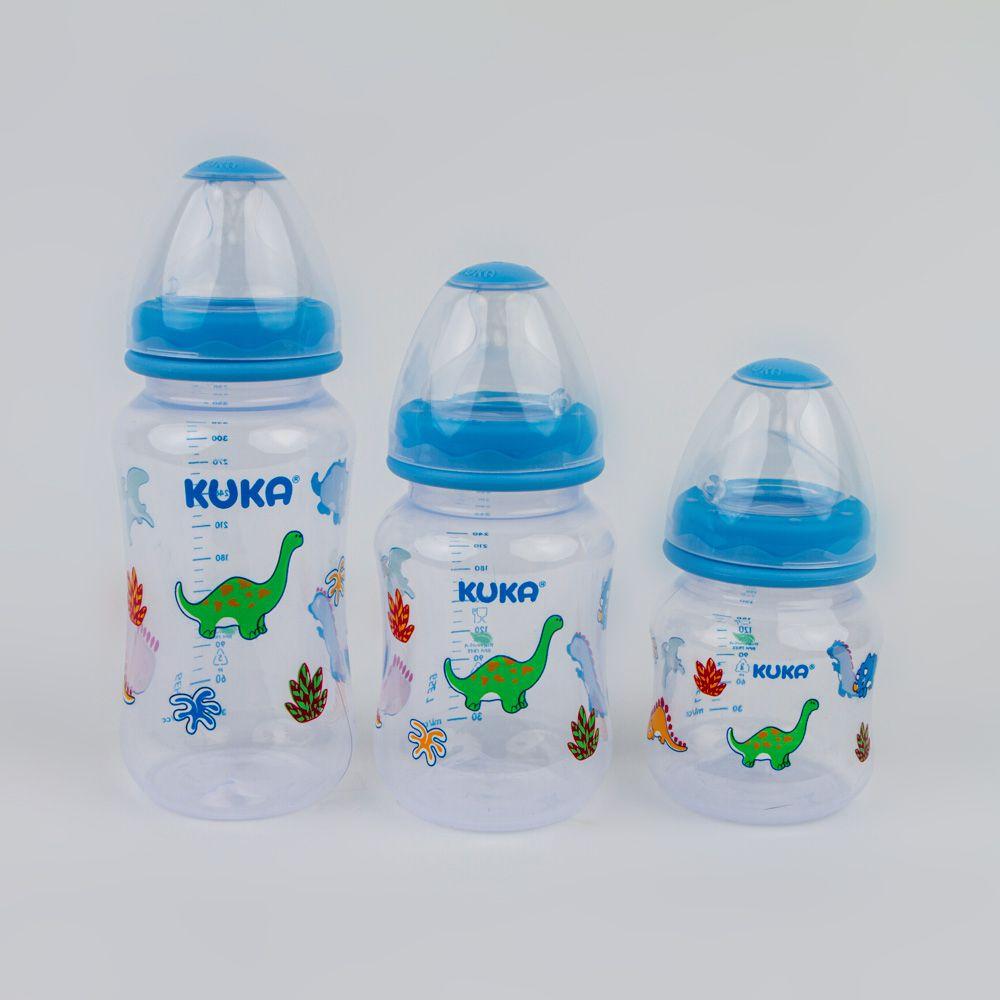 Kit Com 3 Mamadeiras Estampado Dino Azul Kuka