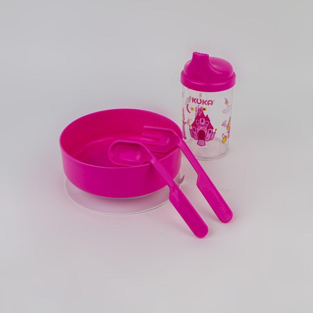 Kit Refeição De Bebê Rosa Kuka
