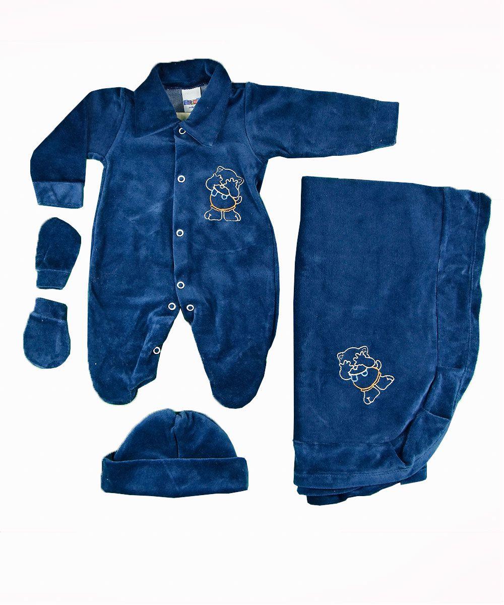 Kit Saída De Maternidade 4 peças Bordado Grizzly Bear Gente Miuda Azul  Marinho eaf633db61c