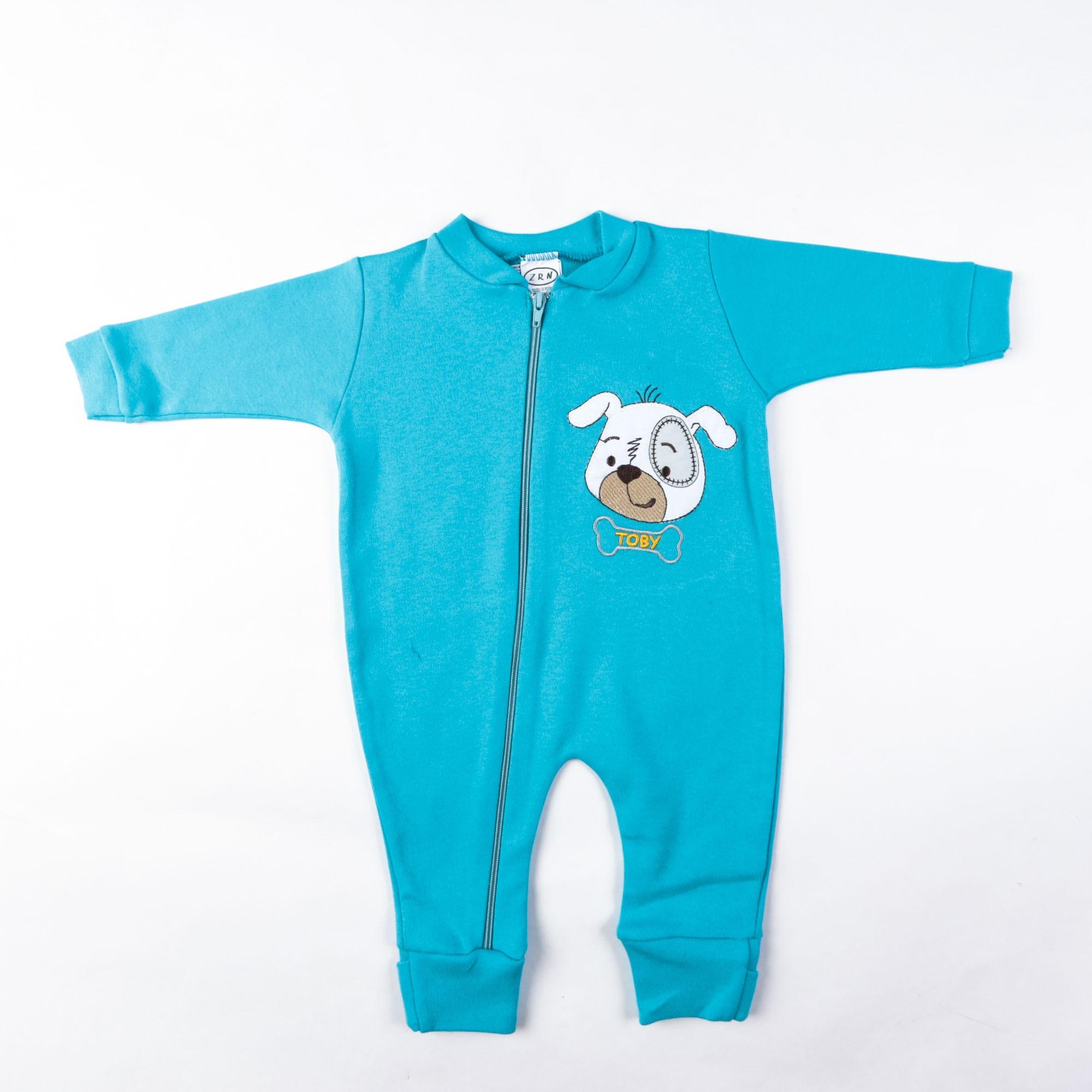 Macacão Bebê Liso Com Bordado E Zíper P/G - Zerinho