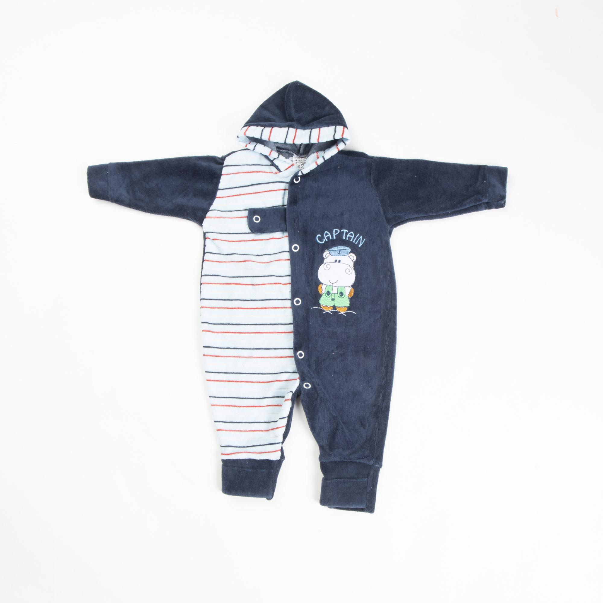 Macacão Bebê Plush Bordado Com Capuz