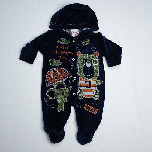 Macacão De Bebê Plush Estampado Com Capuz Luizinho Baby