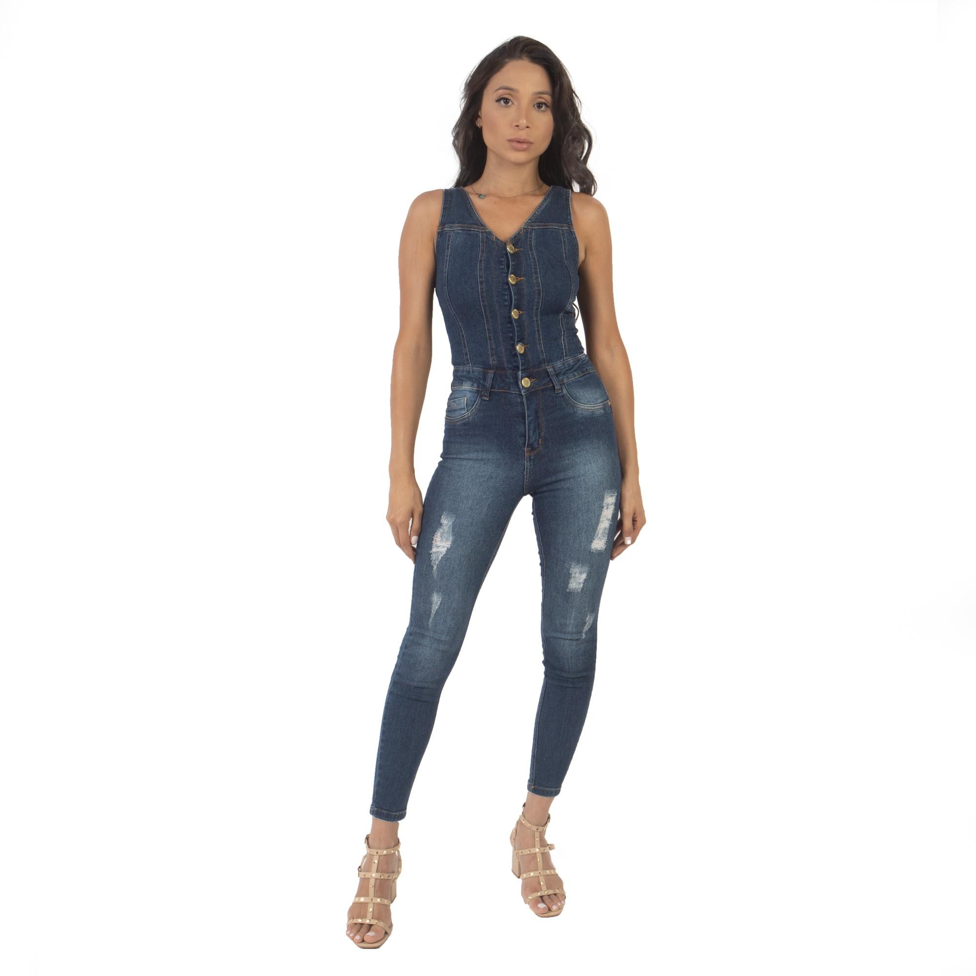 Macacão Jeans Com Botões