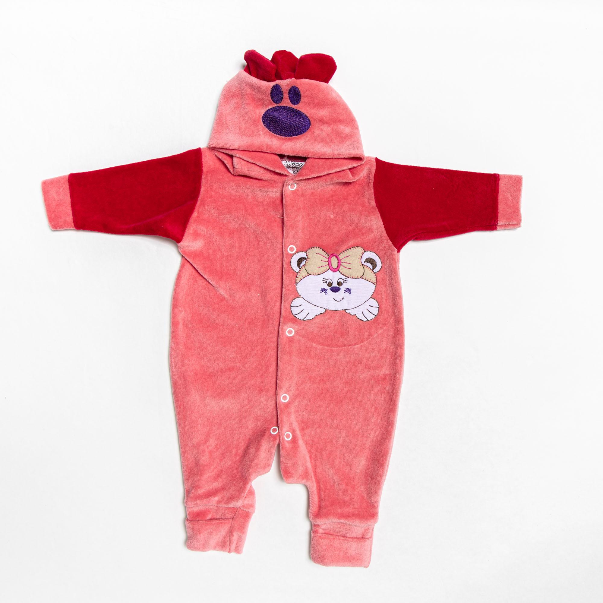 Macacão Longo Plush De Bebê Com Capuz