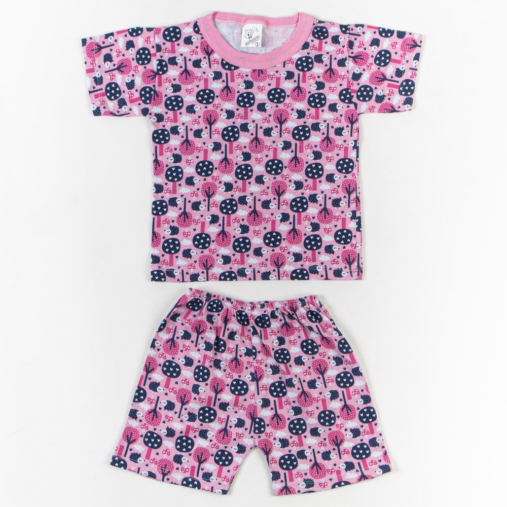 Pijama Infantil Estampado Com Short 1/3 - Mafessoni