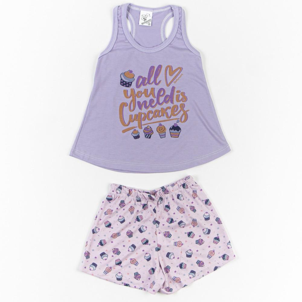 Pijama Infantil Menina Regata Estampado 4/6