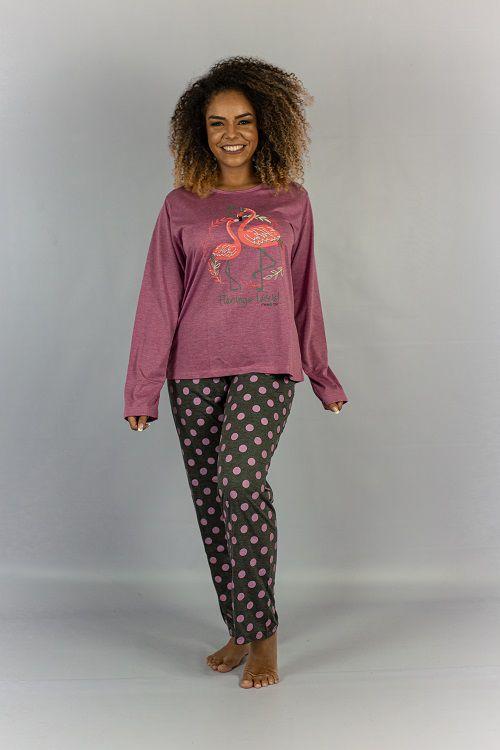 Pijama Manga Longa E Calça Flamingo Maria Rosa