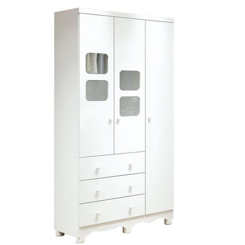 Roupeiro 3 Portas Branco Modelo Uli - Peroba