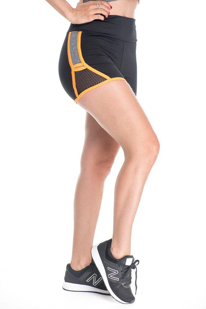 Short Fitness Com Detalhe Lateral Laranja