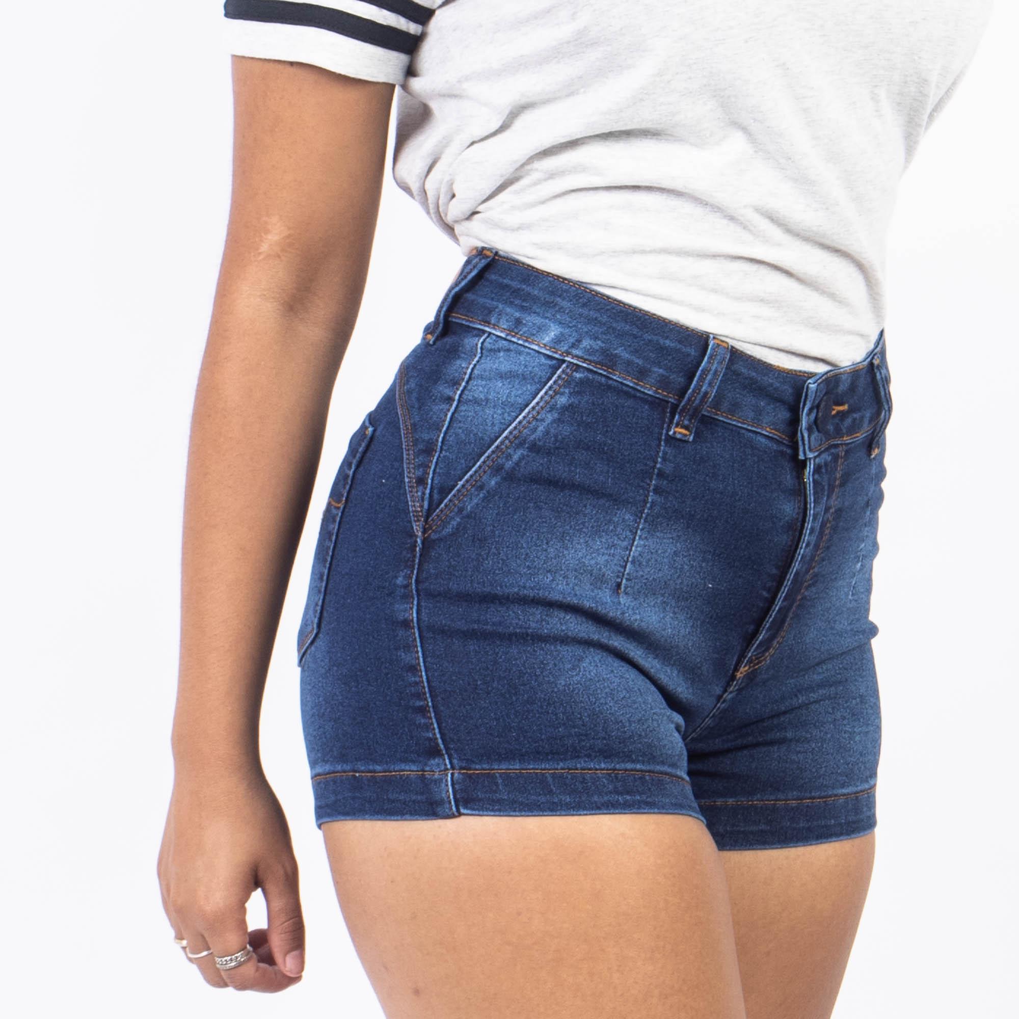 Short Jeans Curto Escuro