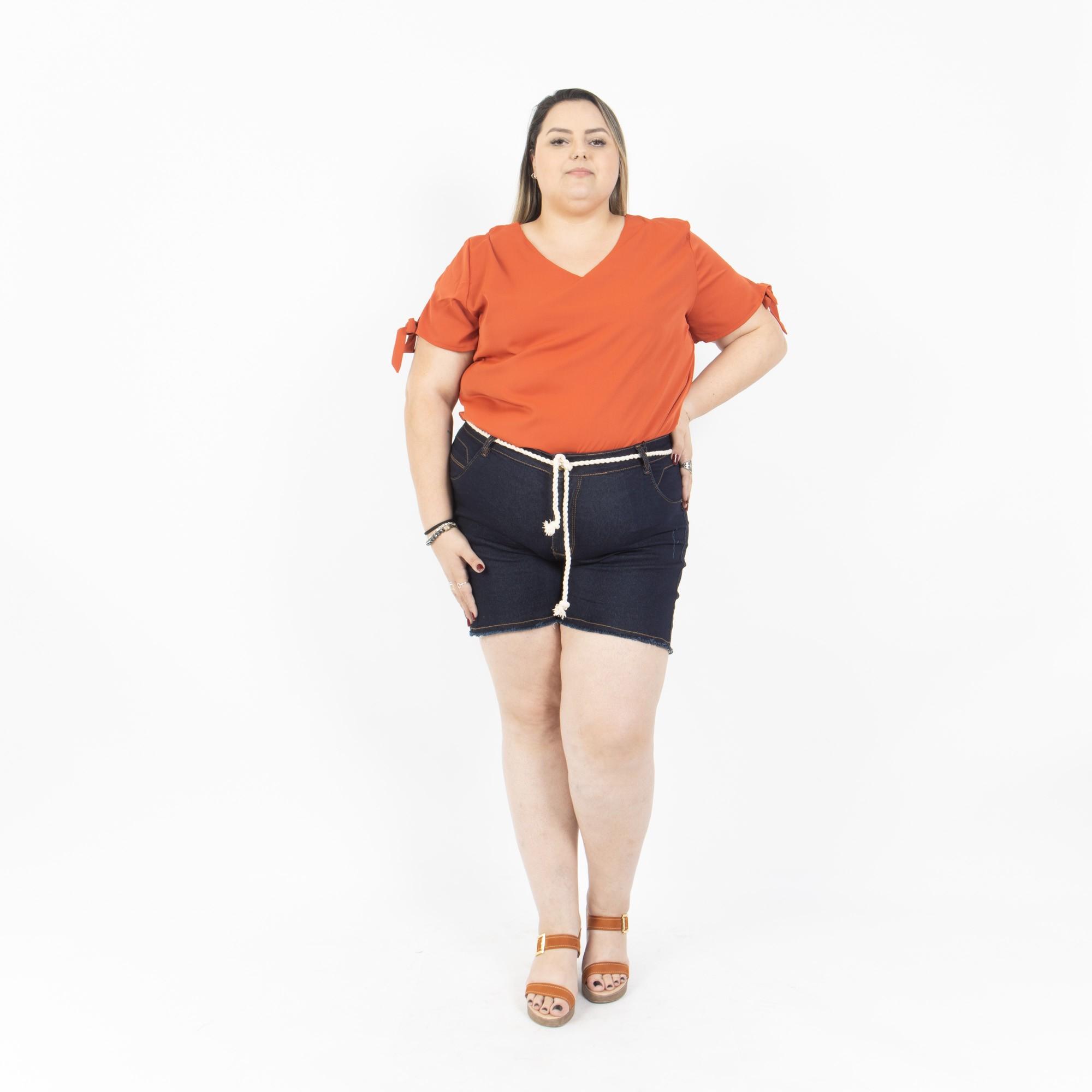 Short Jeans Escuro Com Cordão Plus Size - Potencial Jeans