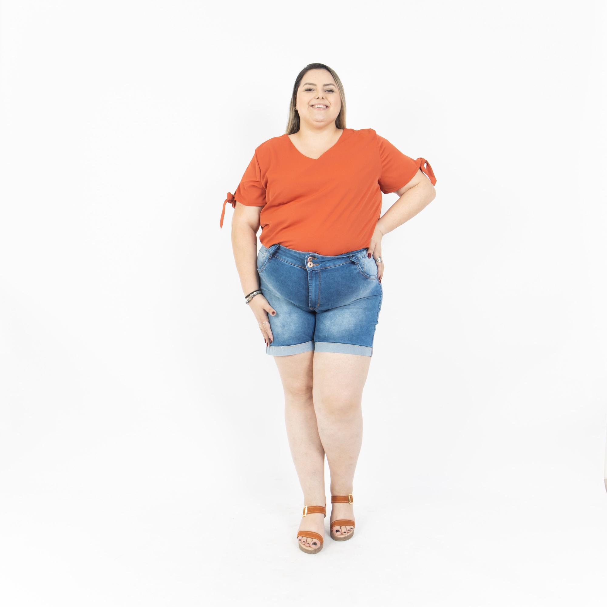 Short Jeans Plus Size Cintura Alta - Potencial Jeans