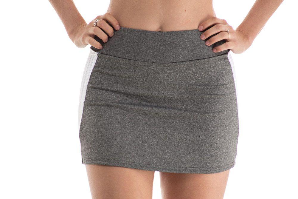 Shorts Saia Fitness Suplex Mescla Faixa Lateral Branca