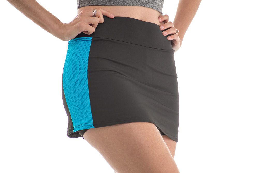 Shorts Saia Fitness Suplex Preto Faixa Lateral Azul