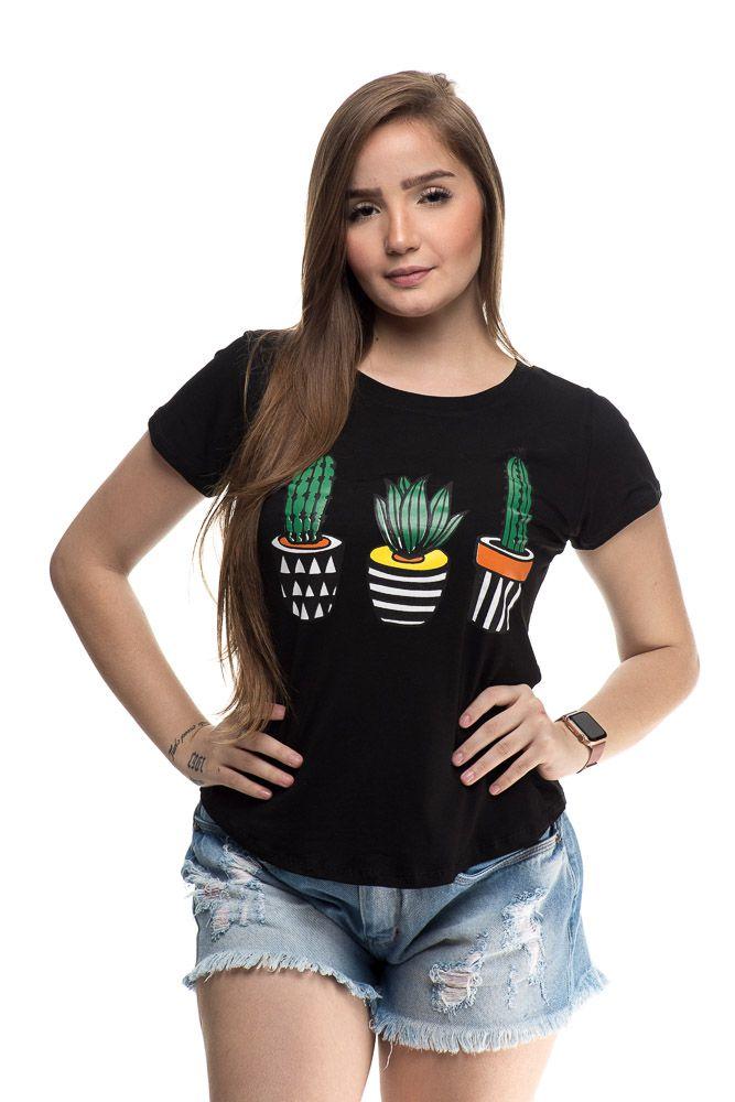 T Shirt cactus Preto