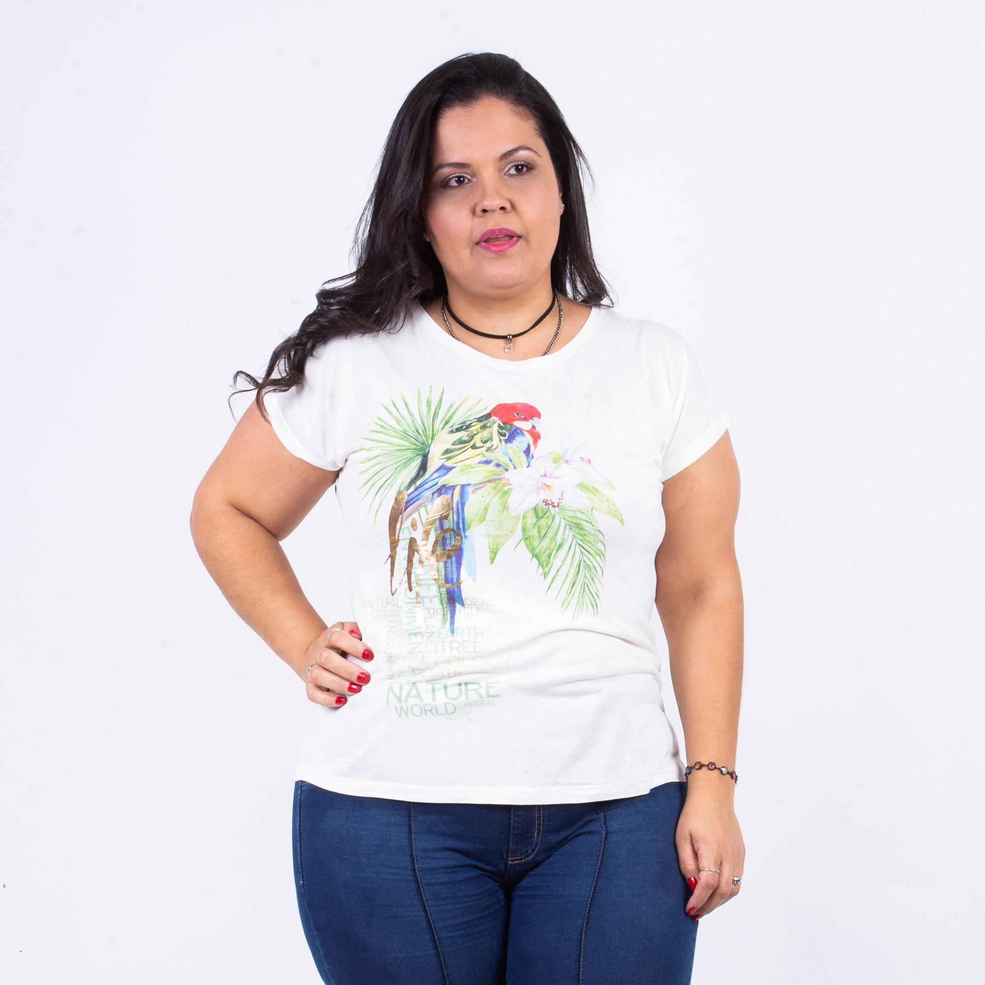 T-shirt Feminina Estampada Viscose