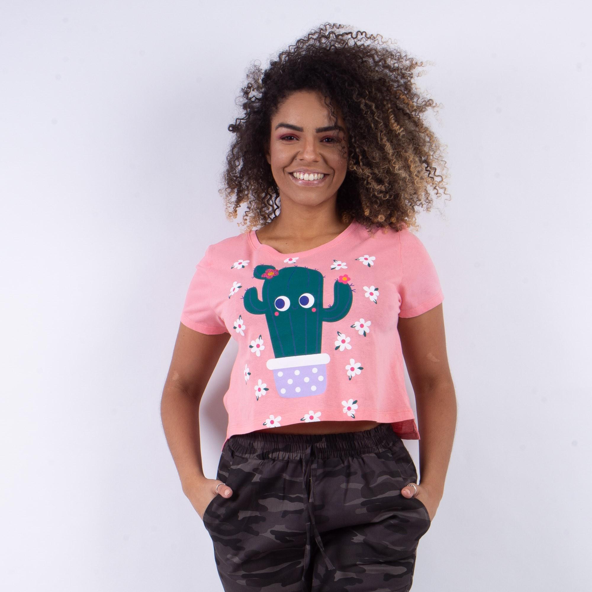 T-shirt Rosa Estampada