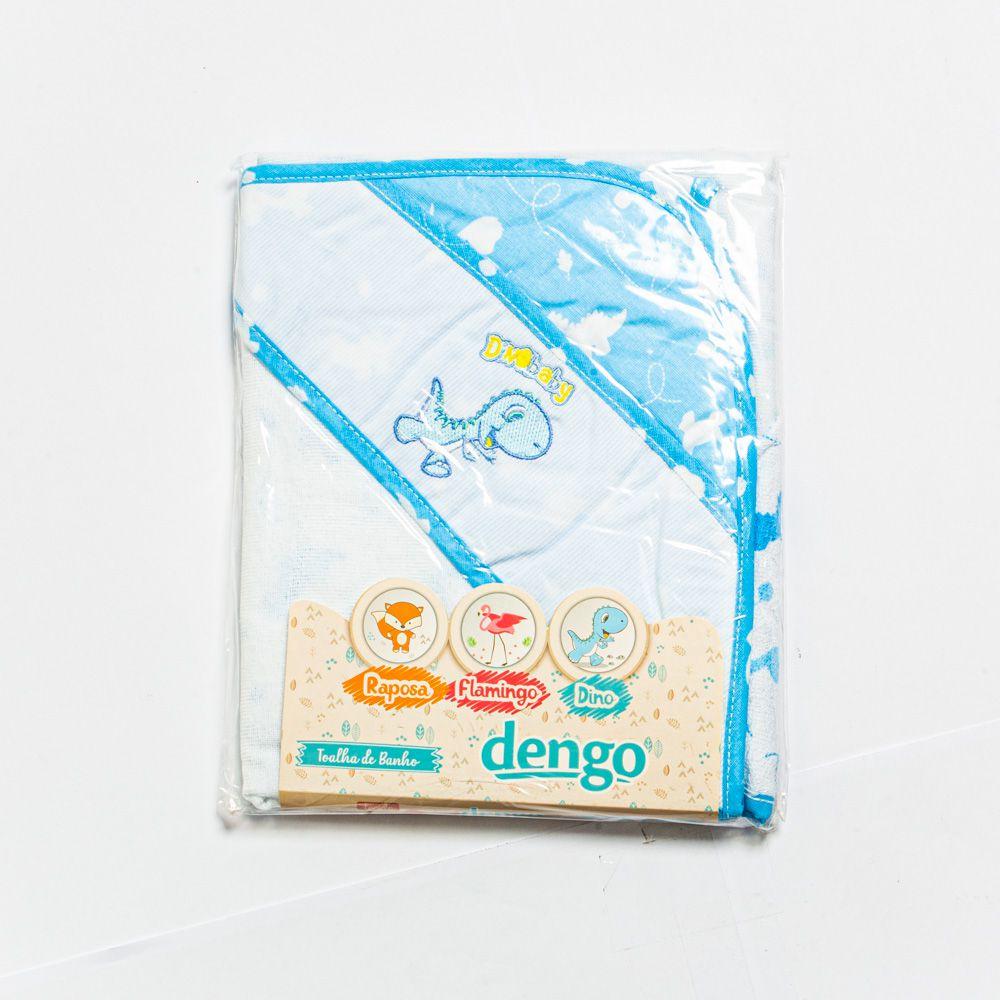 Toalha De Banho Felpa Com Forro Em Fralda Estampa Dino Menino - Minasrey