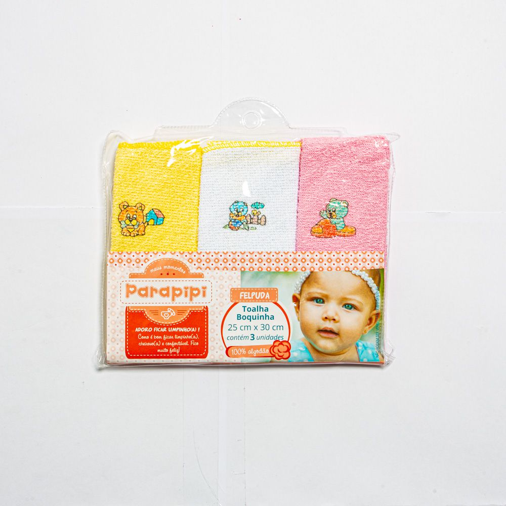 Tolha Boquinha Para Bebê Felpuda Com 3 Unidades Minasrey