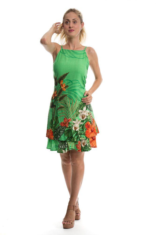 Vestido Alcinha Costa Nua Estampado Com Babado