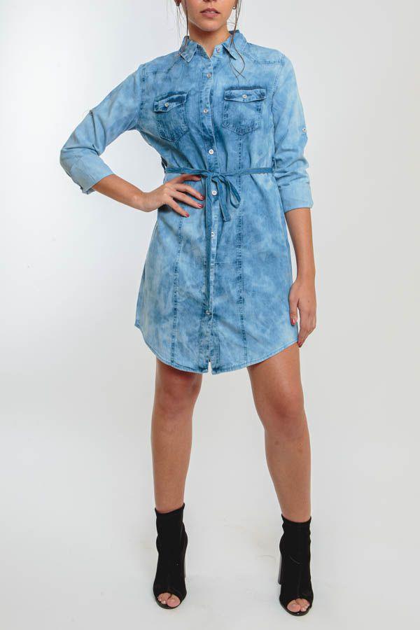 Vestido Chemise Jeans Marmorizado Médio