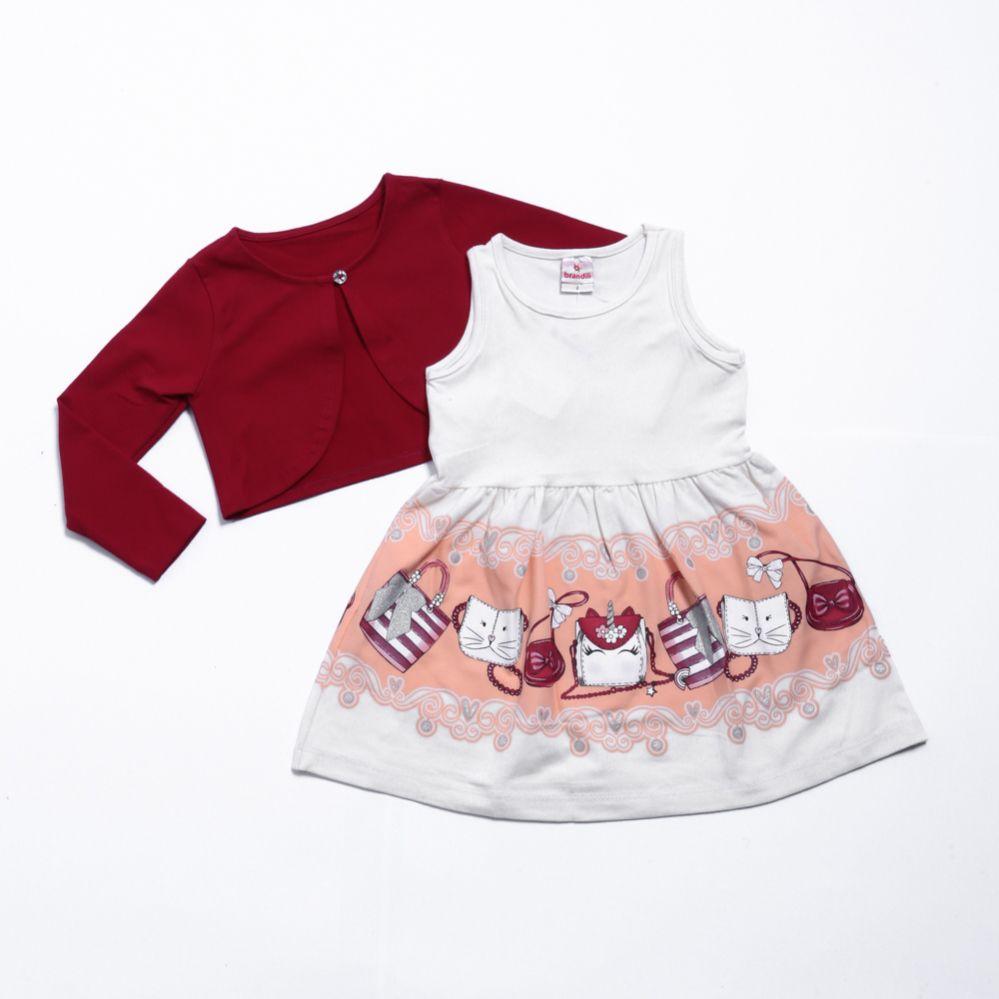 Vestido Com Bolero Infantil De Malha - Brandili
