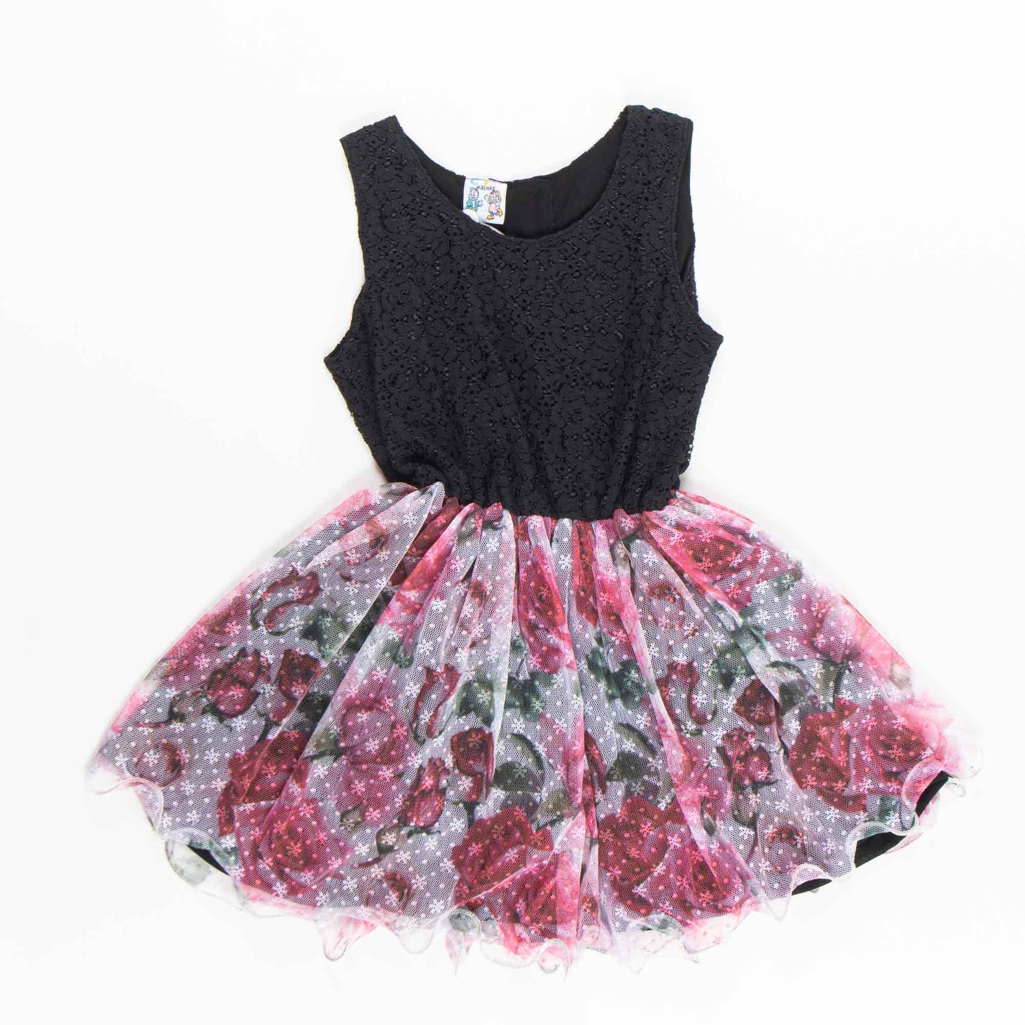 Vestido Com Tule Infantil De Festa - 1/3
